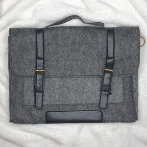 Gray and Black Buckle Styled Sleeve Pouch Bag